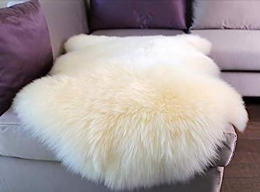 Woolous Genuine New Zealand Sheepskin Rug Area,One Pelt Ivory Area Rug,Natural Fur, for Chair Cover Seat Pad Plain Bedroom Sofa Floor Living Room, Single,2x3 feet (Ivory)