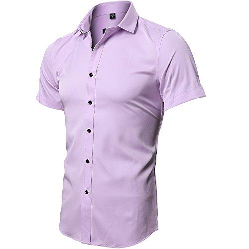 INFLATION Herren Hemd aus Bambusfaser umweltfreudlich Elastisch Slim Fit für Freizeit Business Hochzeit Reine Farbe Hemd Kurzarm Herren-Hemd Rosa DE M (Etikette 41)