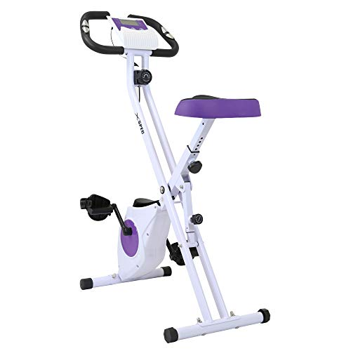 Xspec Foldable Stationary Upright Exercise Folding Workout Indoor Cycling Bike, Purple