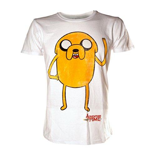 Adventure Time Jake Waving T Shirt (Blanc) - Large