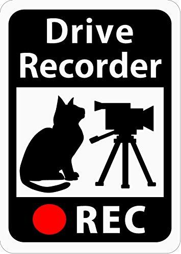 ドライブレコーダー搭載ステッカー 「猫とビデオカメラ」 (マグネット) (ホワイト) s22
