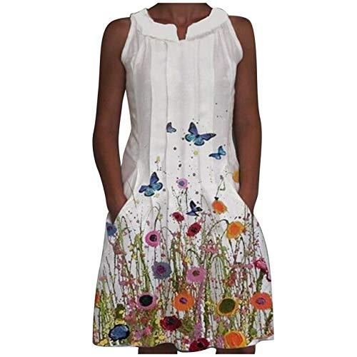 YANFANG Vestido de impresión de posicionamiento de Vestido de Longitud Media de una línea de Verano de 2021 para Mujer, White,M