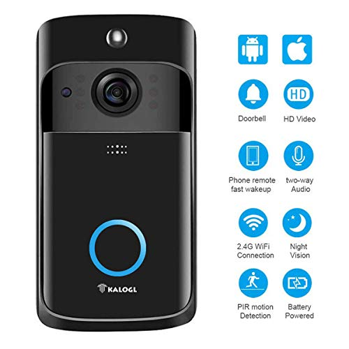 Video Doorbell Wireless Doorbell Camera IP5 Waterproof HD WiFi Security Camera Real-Time Video for iOS&Android Phone, Night Light