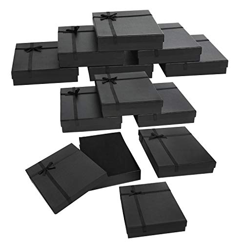 Kurtzy Cajas de Regalo para Joyas Papel Negro (Pack de 12) 16 x 12 x 3 cm – Cajitas Regalo Mostrar Joyas Set Caja Pequeña Regalo con Inserto de Espuma para Pendientes, Collares, Brazaletes y Anillos