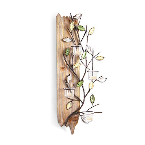 QINQIGBJ Artwork Wall Wall Art Decoration Three-Dimensional Handmade Branch Wall Hanging Metal and Wood Combination with Cup Candle for Home Decor-28.5x9x67cm Ready to Hang