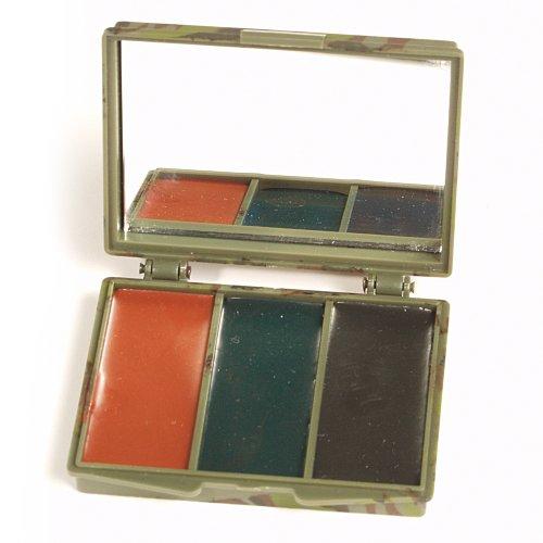 Mil-Tec Camo Face Camo pintura 3 colores con el espejo Woodland