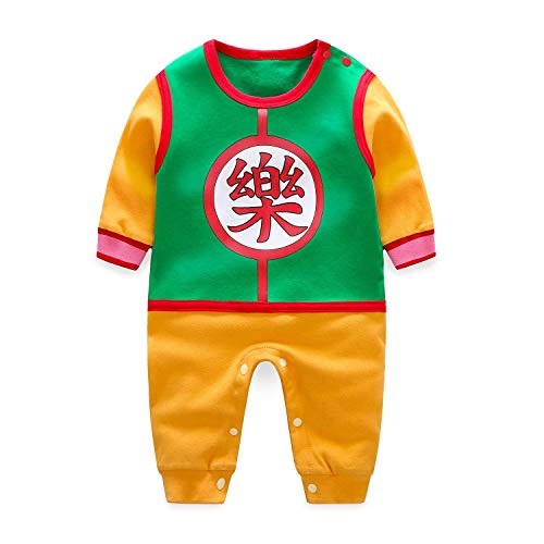 Baby Romper Jumpsuits Cosplay Newborn Cotton Bodysuit One Piece Clothes for Boy Green&Orange 12-18 Months/90