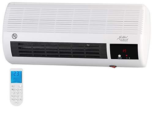 Sichler Haushaltsgeräte Wandheizlüfter Bad: Kompakter Wandheizlüfter mit Fernbedienung, Thermostat, 2.000 Watt (Heizlüfter Bad Wandmontage)