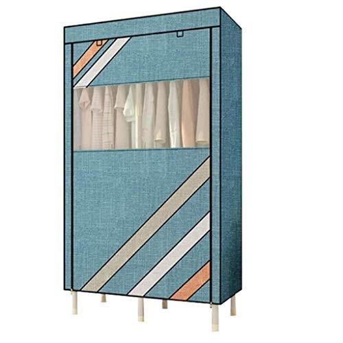 Armario grande y portátil mejorado y ampliado armario duradero y portátil, organizador de almacenamiento de armario de combinación simple (color: azul)