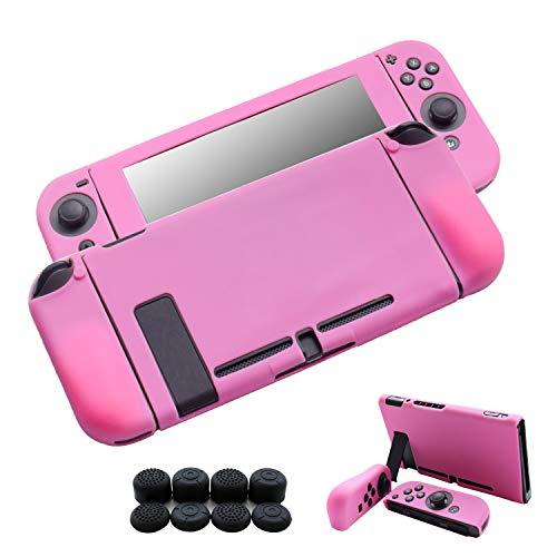 Hikfly Nintendo Switch Cover Case Silicone Gel Non-Slip Skin Protector 3in1 Kits for Nintendo Switch Consoles and Joy-Con Controllers with 8pcs Silicone Gel Thumb Grips Caps(Pink)