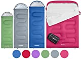 KingCamp Oasis Sleeping Bag Single Person 3-4 Season Adult Child Envelope Style Easy to Carry Lightweight & Waterproof & Warm for Camping & Outdoors in Blue Green Pink Purple Grey Red
