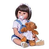 DERUKK-TY Muñecas de bebé Reborn de 55 cm de vinilo de silicona de cuerpo completo, muñecas anatómicamente correctas, regalos de cumpleaños para bebés con chupete y botella.