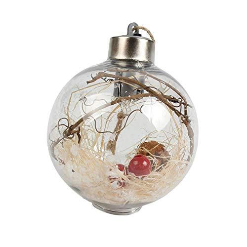 Triamisu 8cm Románticas Decoraciones navideñas Bola PVC Transparente para el hogar Luz Luminosa Colgante Árbol...