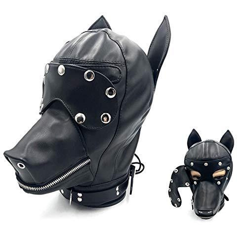 Roo-16HAO Capuche en Cuir Animal Chapeau Masque Masque Protection tête Zipper métal Respirant -737