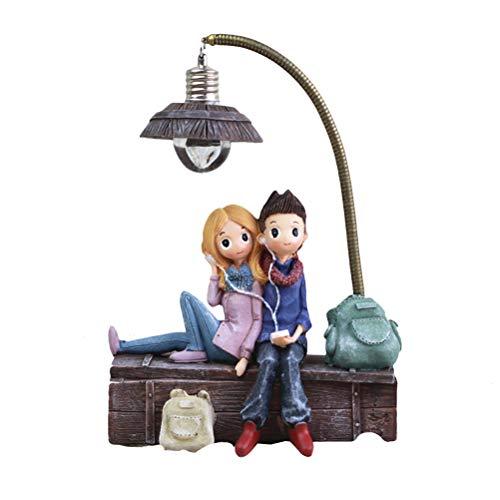 Vosarea Petite lampe motif couple avec écouteurs en résine pour salon, chambre à coucher, décoration artisanale, cadeaux pour les amoureux de la maison, fête de Saint-Valentin (C)