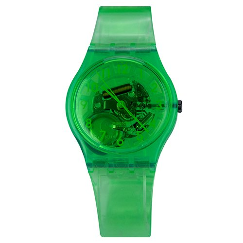 Swatch Limade translúcido verde Dial Verde translúcido silicona Unisex Reloj GG216