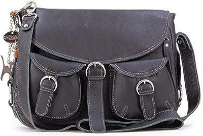 Catwalk Collection Handbags - Cuir Véritable - Sac à Main/Sac Bandoulière/Sac Besace avec Rabat/Sac Porté Croisé - Femme - COURIER - Noir