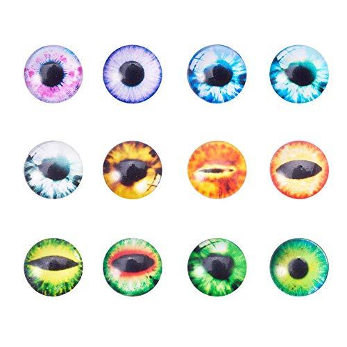 PandaHall 20 pcs Half Round/Dome Eye Printed Glass Cabochons, Mixed Color, 12x4mm