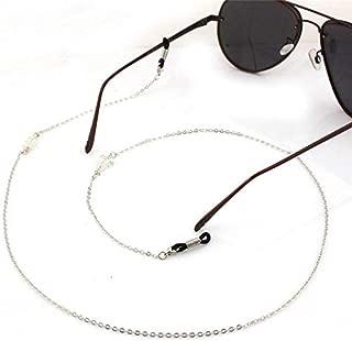 Women Men Sunglasses Lanyard Strap Necklace Metal Glass Crystal Eyeglass Glasses Chain Cord,Silver