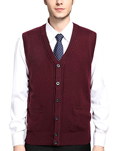 Yeokou Mens Casual Slim Sleeveless V Neck Button Front Wool Knitted Sweater Vest