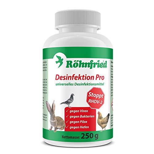 Röhnfried Desinfektion Pro (250 g), Desinfektionsmittel für Kaninchen, Hühner & andere Tiere, sichere Wirksamkeit gegen Viren, Bakterien, Hefen & Pilze