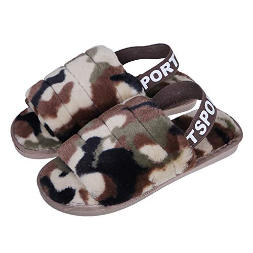 Flauschige Sandalen für Damen mit Knöchel-Gummiband Open Toe Winterrutschen Home Slipper Plüsch Slip-On Fluffy Warm Indoor