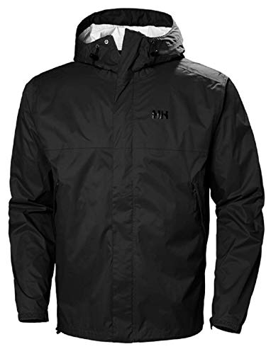 Helly Hansen Men's Loke Lightweight Hooded Waterproof Windproof Breathable Rain Coat Jacket, 990 Black, Large