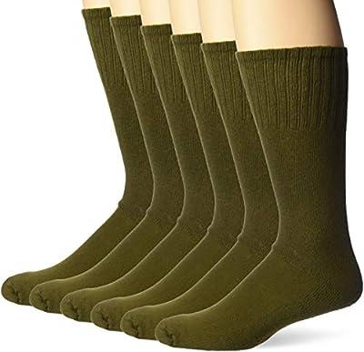 Jefferies Socks mens Military Uniform All Season Rib Top Crew Boot 6 Pack Casual Sock, Olive Green, Shoe Size 9-12 US