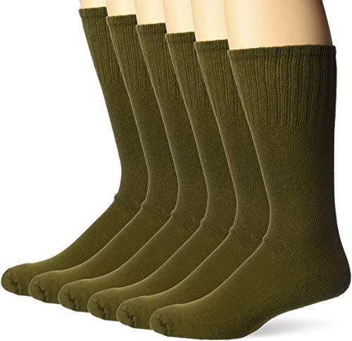 Jefferies Socks Men's Military Uniform All Season Rib Top Crew Boot 6 Pack, Olive Green, Sock: 9-11/Shoe: 5-8