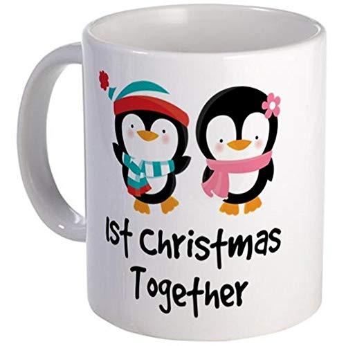 N\A Taza de 11 onzas - Taza de pingüino de la Primera Navidad Juntos - S Blanco