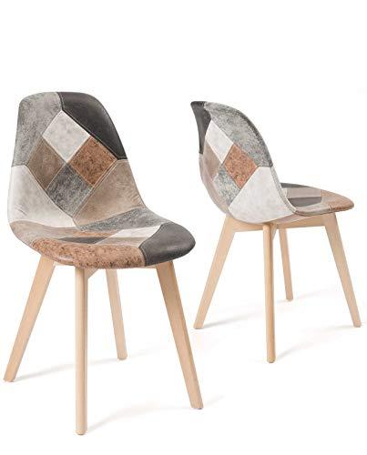 KAYELLES Lot de 2 chaises Patchwork scandinaves, NADA (Patchwork Marron)
