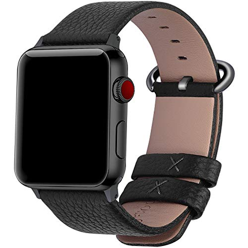 Fullmosa Compatible Apple Watch Band 38mm 40mm 42mm 44mm Calf Leather Compatible iWatch Band/Strap Compatible Apple Watch Series 5 Series 4 Series 3 Series 2 Series 1, 44mm 42mm Black+Gunmetal Buckle