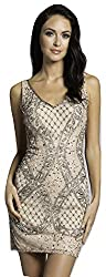 Lara 33147 Beaded Mesh Fabric V-Neckline Short Dress