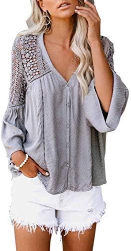 Biucly Women s Casual Long Sleeve Shirts Boho V Neck Chiffon Lace Crochet Bell Sleeve Blouses product image