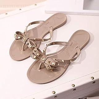 حذاء نسائي برشام القوس شقة soled الصنادل غير زلة هلام الأحذية المطاطية أحذية الشاطئ 35 Apricot