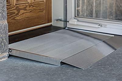 """EZ-ACCESS TRANSITIONS Aluminum Threshold Ramp with Adjustable Height up to 5-7/8"""", 36"""" L x 36"""" W"""