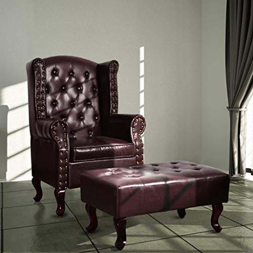 Zora Walter sofá sillón con Fu?Taburete Silla de Piel sintética marrón Oscuro del reposabrazos Club Sillón–Butaca de Lounge
