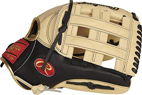 Rawlings Exclusive Heart of The Hide R2G Baseball Glove, Pro H Web, 12 3 4 inch, Black Camel Gold - Outfield (AMAPROR3039-6CB)