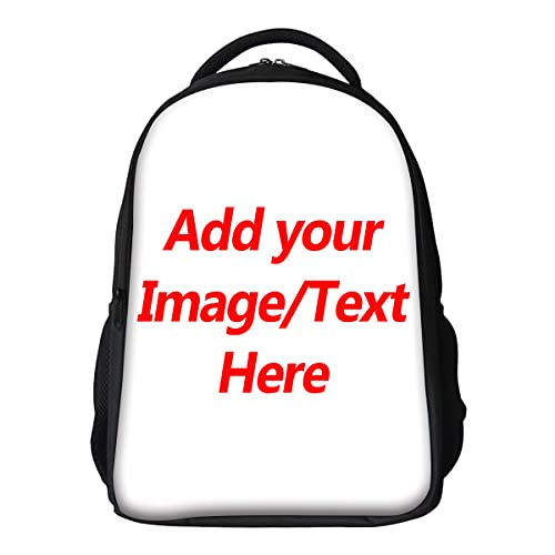 Custom Photo Bag Personalized Picture Backpack Teens Girls Boys Customized School Bag 16.5 Inch Large Capacity Shoulders Book Bag Text Fashion Nursing Bags Baby Casual Travel Bag for Men Women YHA