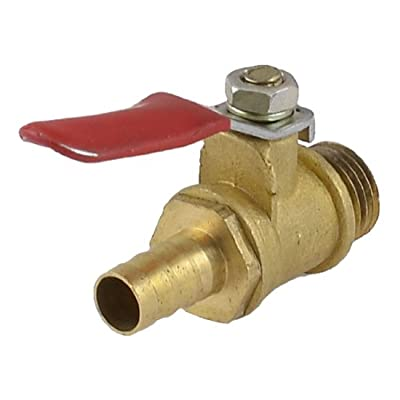 """Amico 1/4"""" PT Male Thread to 8mm Hose Barb Red Lever Handle Brass Ball Valve by Amico"""