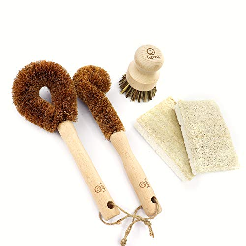 Tierra Non-Scratch Kitchen Dish Brush & Scrub Sponge Cleaning Set | 5 Pieces | 100% Biodegradable & Sustainable