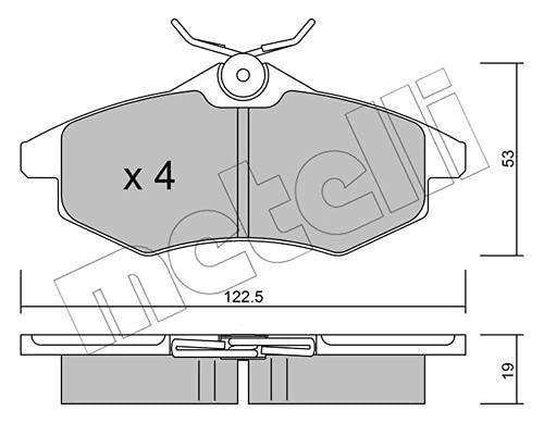 metelligroup 22-0328-0 Bremsbeläge, Made in Italy, Ersatzteile für Autos, ECE R90-zertifiziert, Kupferfrei