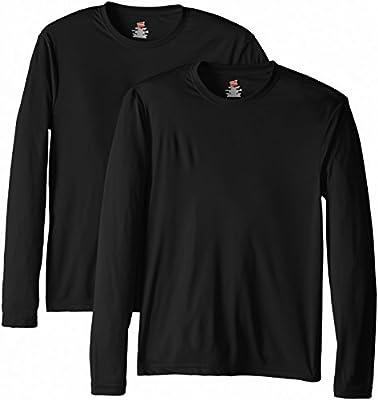 Hanes Men's Long Sleeve Cool Dri T-Shirt UPF 50+, XX-Large, 2 Pack ,Black