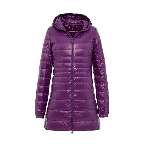 Ladies Long Warm Down Coat with Portable Storage Bag Women Ultra Light Down Jacket Women's Overcoats Hip-Length Purple