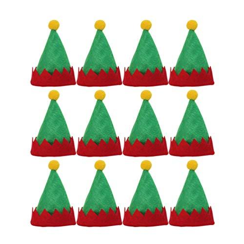 Amosfun - Juego de 24 mini gorro de Navidad, color verde, gorro de Papá Noel, elfo, tapas para caramelos, tapas de mesa de Navidad, decoraciones de mesa de Navidad, suministros para fiestas de Navidad
