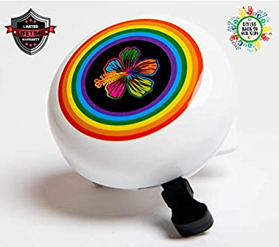 DayJay | Rainbow Beach Flower Love Bike Bell for Kids | Handlebar Bicycle Bell for Bikes or Scooter | Tricycle Bell for Boys Girls Toddler, Loud Ringing, Left Hand