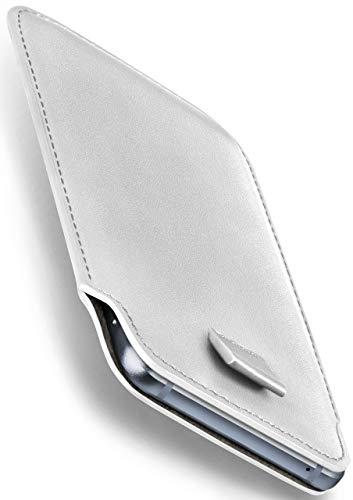 moex Emporia Flip Basic | Hülle Weiß Sleeve Slide Cover Ultra-Slim Schutzhülle Dünn Handyhülle für Emporia Flip Basic Case Full Body Handytasche Kunst-Leder Tasche