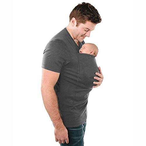 Pavilion Babytrage Kleidung Känguru T-Shirt Mit Großer Taschen-Multi-Funktions-T-Shirt for Vater Mutter Mit Baby Kurzarm (Color : Gray, Size : XL)