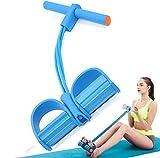 Pedaleador Elástica,Pedal de Cuerda Banda de Resistencia 4 Tubos Cuerda de Tensión Multifunción Equipo Accesorios de Gimnasio para Mujeres Pilates Fitness Yoga Fuerza Entrenamiento de Culturismo Azul