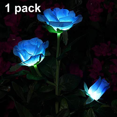 Rose Blume Solarleuchte Outdoor Spazierweg Garten Dekoration Leuchte Solar Blumen Garten Pfahllichter Pefekt Für Terrasse Hof Weihnachten Pfad Dekro (Blaue Rose, 1 PC)